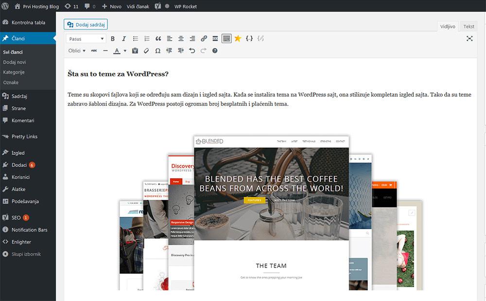 Kontrolna tabla WordPress-a